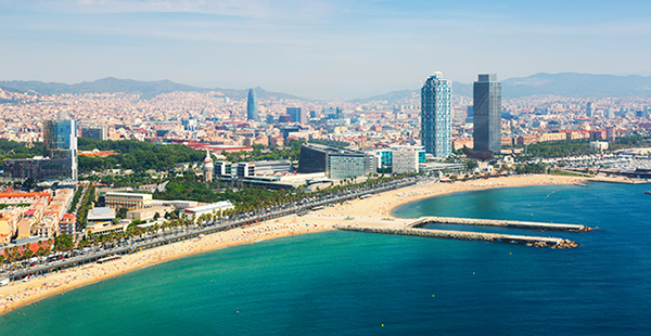 Aerial view of Barcelona from Mediterranean by Bearfotos