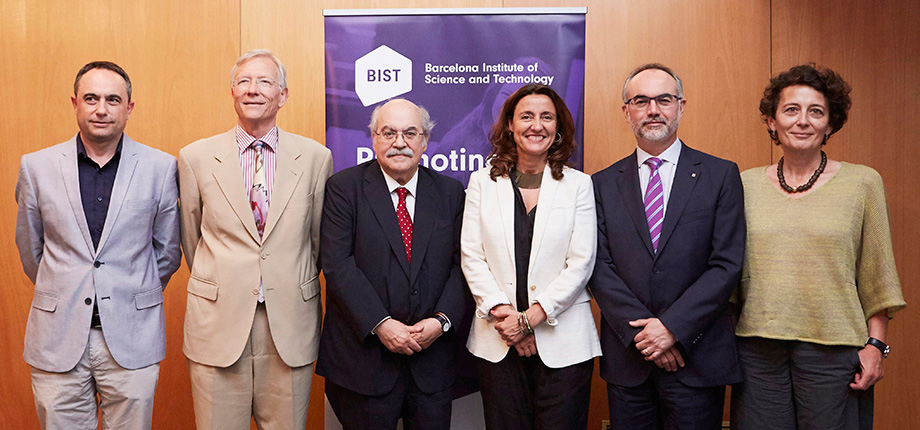 Jaume Ciurana, Deputy Mayor presidency; Rolf Tarrach, outgoing president; Andreu Mas-Colell, president of the BIST board; Mercè Conesa, president of the Diputació; Arcadi Navarro, Secretary for Universities and Research; Montserrat Vendrell, BIST Director General.